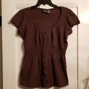 Plus Brown Button Blouse